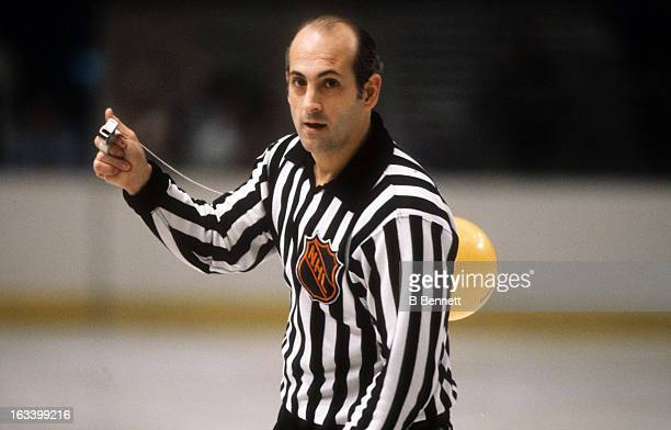 Linesman John D'Amico skates on the ice during an NHL game with the New York Rangers circa 1976 at the Madison Square Garden in New York New York
