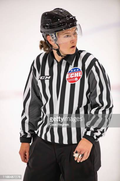 Linesman Kendall Hanley follows the play during Day1 of the NHL Prospects Tournament game between the Dallas Stars and the Minnesota Wild at Centre...