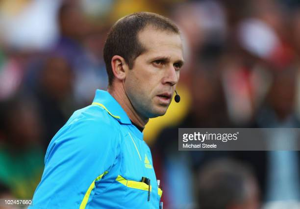 Linesman Mauricio Espinosa of Uruguay looks on after disallowing a goal by Frank Lampard of England during the 2010 FIFA World Cup South Africa Round...