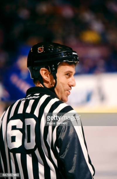 Linesman Pat Dapuzzo skates on the ice during an NHL game with the New York Rangers circa 2004 at the Madison Square Garden in New York New York