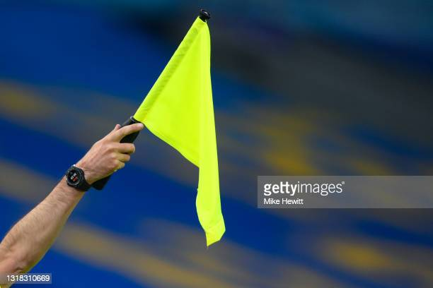 Linesman signals offside during the Premier League match between Brighton & Hove Albion and West Ham United at American Express Community Stadium on...
