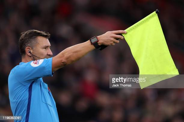 Linesman Simon Beck flags for offside following a VAR review during the Premier League match between Southampton FC and Crystal Palace at St Mary's...