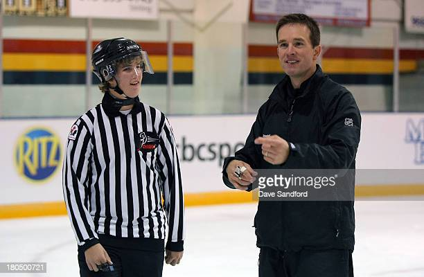 Linesman Steve Barton instructs local minor league officials as they partake in a drills during the NHL Officials Clinic at the Stirling and District...
