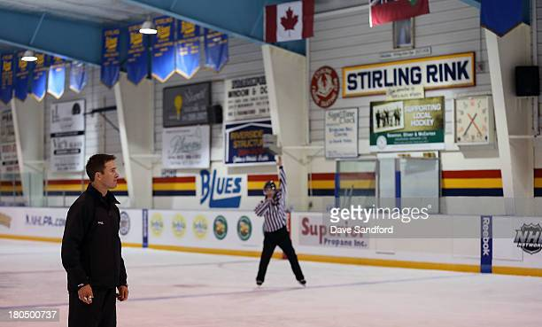 Linesman Steve Barton looks on as local minor league officials partake in a drill during the NHL Officials Clinic at the Stirling and District...
