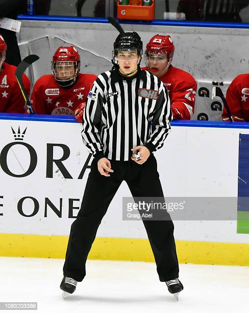 Linesman Tim Valeriote officiates the game between the Mississauga Steelheads and Sault Ste Marie Greyhounds during OHL game action on December 14...