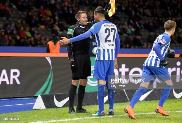 linesman Tobias Reichel and Davie Selke of Hertha BSC during the first Bundesliga game between Hertha BSC and 1st FSV Mainz 05 at olympiastadion on...