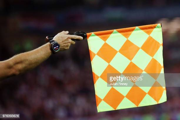 A linesman uses his flag to indicate an infringment of the offside rule during the 2018 FIFA World Cup Russia group D match between Croatia and...