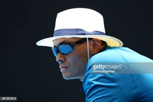 A linesman watches the action in the third round match between Aliaksandra Sasnovich of Belarus and Caroline Garcia of France on day six of the 2018...