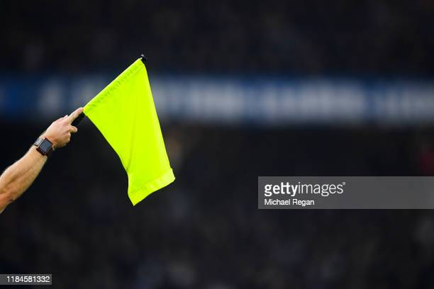Linesman's flag is held by an assistant referee as he signals offside during the Carabao Cup Round of 16 match between Chelsea and Manchester United...