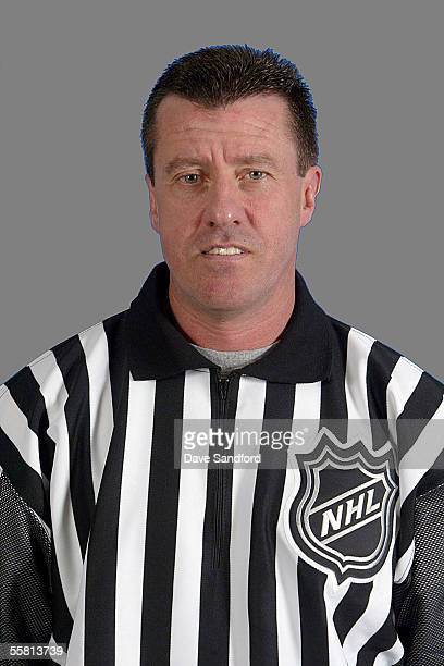Linesmen Pat Dapuzzo poses for a portrait during NHL officials training camp at the Holiday Inn Fort Erie Convention Centre on September 9 2005 in...