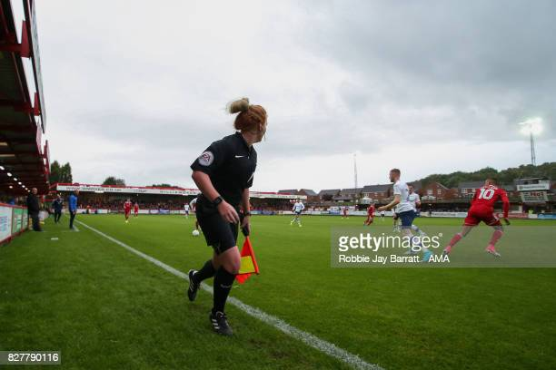 Lineswoman Helen Byrne during the Carabao Cup First Round match between Accrington Stanley and Preston North End at on August 8 2017 in Accrington...