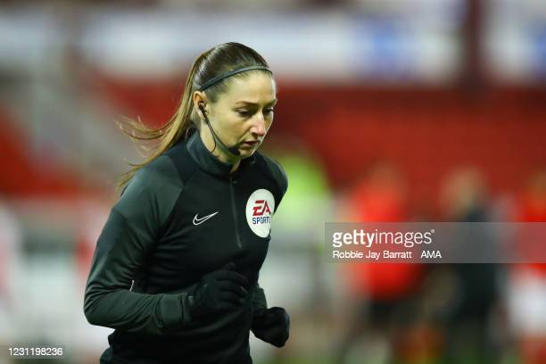 Lineswoman Sian Massey-Ellis during The Emirates FA Cup Fifth Round match between Barnsley and Chelsea at Oakwell Stadium on February 11, 2021 in...