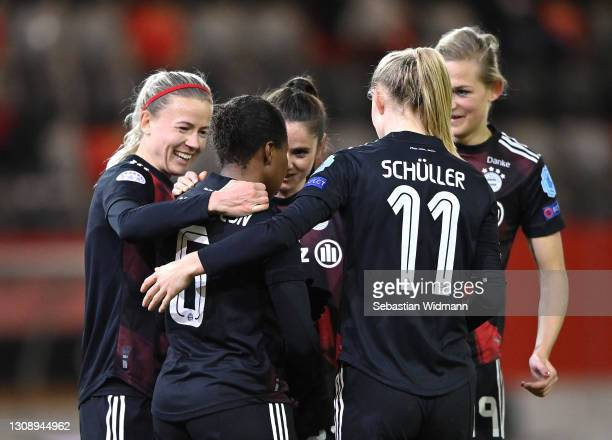 Lineth Beerensteyn celebrates after scoring her sides third goal with teammates during the First Leg of the UEFA Women's Champions League Quarter...