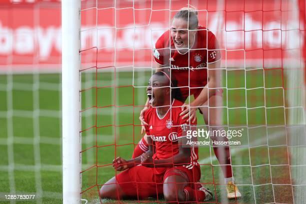 Lineth Beerensteyn of FC Bayern München celebrates scoring the 3rd team goal with her teamm mate Sydney Lohmann during the Flyeralarm Frauen...