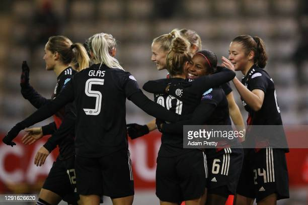 Lineth Beerensteyn of FC Bayern Women celebrates after scoring in the first minute during the UEFA Women's Champions League round of 32 second leg...
