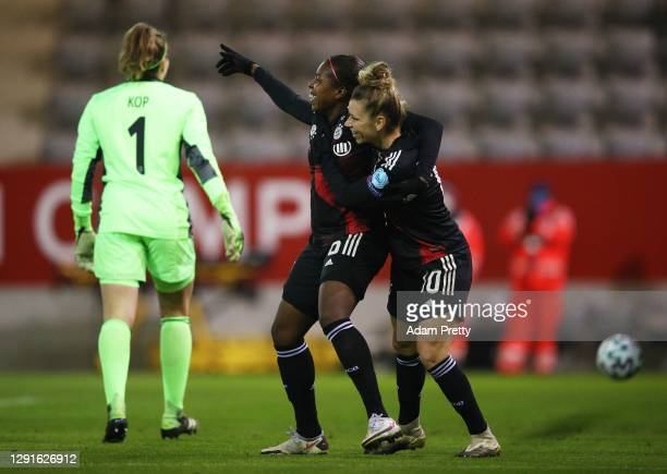Lineth Beerensteyn of FC Bayern Women celebrates with Linda Dallman after scoring in the first minute during the UEFA Women's Champions League round...
