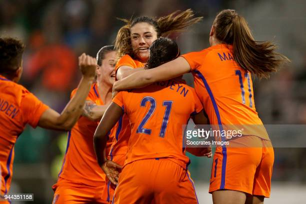 Lineth Beerensteyn of Holland Women celebrates 01 with Sherida Spitse of Holland Women Danielle van de Donk of Holland Women Lieke Martens of Holland...