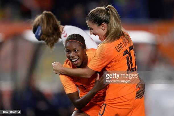 Lineth Beerensteyn of Holland Women celebrates 1-0 with Danielle van de Donk of Holland Women during the World Cup Qualifier Women match between...