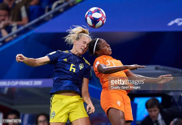 Lineth Beerensteyn of Netherlands competes for the ball with Magdalena Eriksson of Sweden during the 2019 FIFA Women's World Cup France Semi Final...