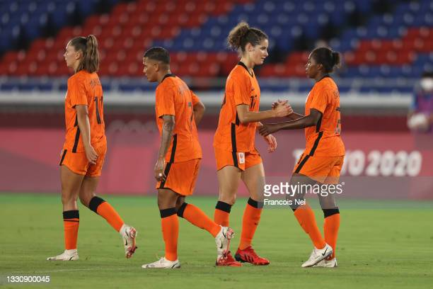 Lineth Beerensteyn of Team Netherlands celebrates with teammate Dominique Janssen after scoring their side's second goal during the Women's Group F...