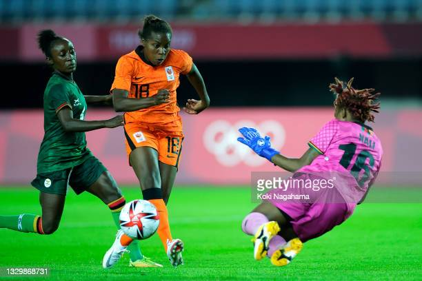 Lineth Beerensteyn of Team Netherlands scores their side's ninth goal past Hazel Nali of Team Zambia during the Women's First Round Group F match...