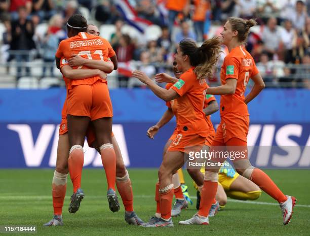 Lineth Beerensteyn of the Netherlands celebrates with teammates after scoring her team's second goal during the 2019 FIFA Women's World Cup France...