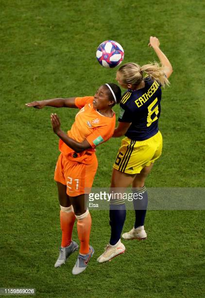 Lineth Beerensteyn of the Netherlands competes for a header with Magdalena Eriksson of Sweden during the 2019 FIFA Women's World Cup France Semi...