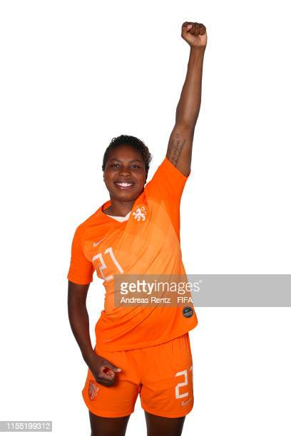 Lineth Beerensteyn of the Netherlands poses for a portrait during the official FIFA Women's World Cup 2019 portrait session at Hotel Novotel Le Havre...