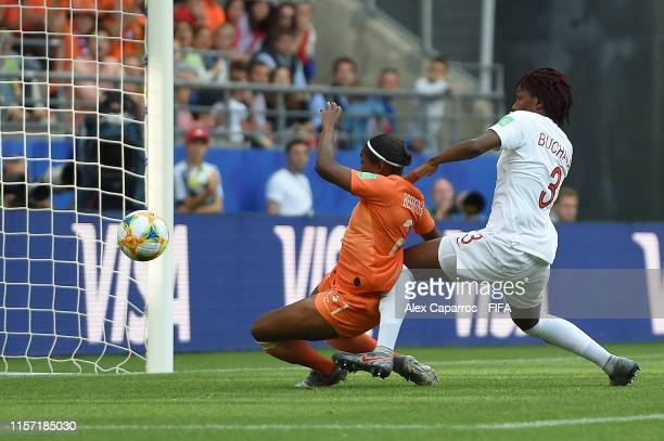 Lineth Beerensteyn of the Netherlands scores her team's second goal during the 2019 FIFA Women's World Cup France group E match between Netherlands...