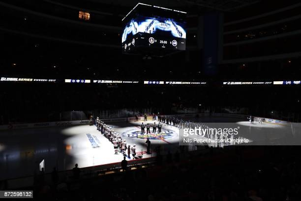Lineup ahead of the 2017 SAP NHL Global Series match between Ottawa Senators and Colorado Avalanche at Ericsson Globe on November 10 2017 in...
