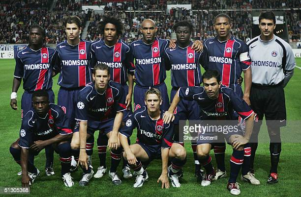 PSG lineup before the UEFA Champions League Group H match between Paris SaintGermain and Chelsea at Parc Des Princes on September 14 2004 in Paris