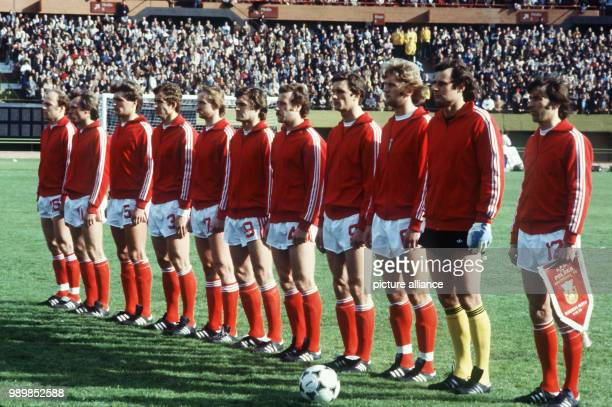 Lineup for the national anthems of the Polish national football team prior to the 1978 FIFA World Cup opening game at the Buenos Aires Estadio...