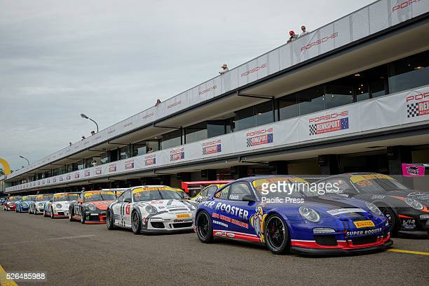 PARK SYDNEY NSW AUSTRALIA Lineup for the Porsche Carrera Cup practice session at the Porsche Rennsport Australia Motor Racing Festival 2016 at the...