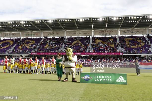 Lineup of Ajax with Princes Fiona and Shrek during the Florida Cup 2019 match between Ajax Amsterdam v Sao Paulo FC at Orlando City Stadium on...