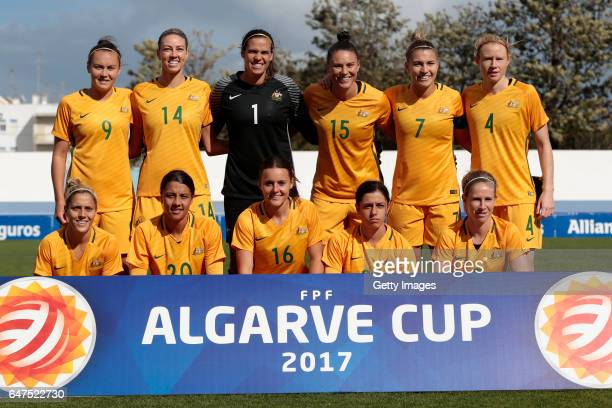 Lineup of Australia with Caitlin Foord Alanna Kennedy Lydia Williams Emily Gielnik Steph Catley Clare Polkinghore Katrina Gorry Sam Kerr Hayley Raso...