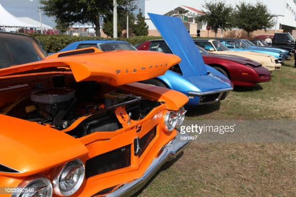 line-up of classic cars at florida car show.  usa - hood ornament stock pictures, royalty-free photos & images