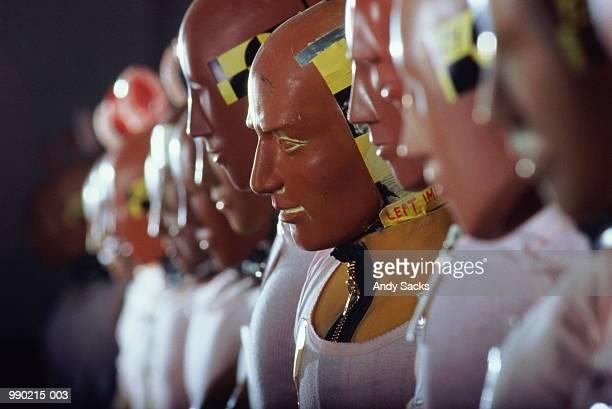Line-up of crash test dummies