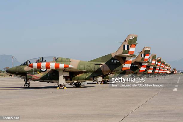 line-up of hellenic air force t-2 buckeye trainer aircraft. - vertical stabilizer stock pictures, royalty-free photos & images