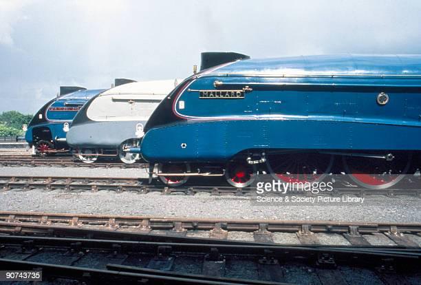 Lineup of LNER A4 Class Pacifics no 4498 'Sir Nigel Gresley' no 4464 'Bittern' and no 4468 'Mallard' Shown on the 50th anniversary of the Mallard's...