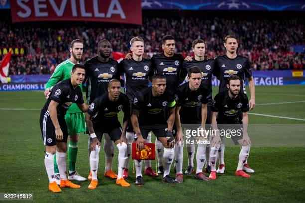 Lineup of Manchester before the UEFA Champions League Round of 16 First Leg match between Sevilla FC and Manchester United at Estadio Ramon Sanchez...
