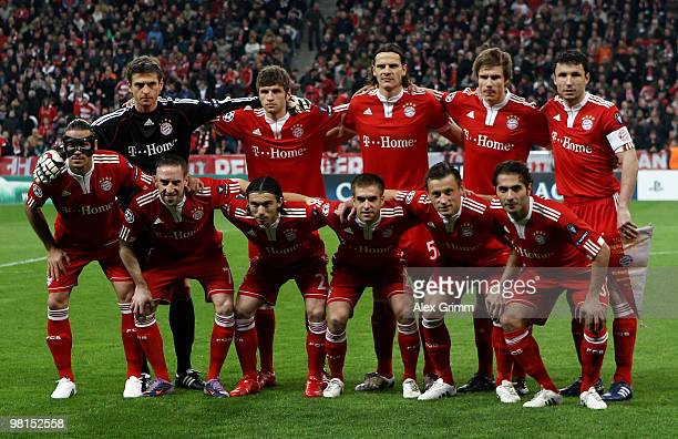 Lineup of Muenchen before the UEFA Champions League quarter final first leg match between Bayern Muenchen and Manchester United at the Allianz Arena...
