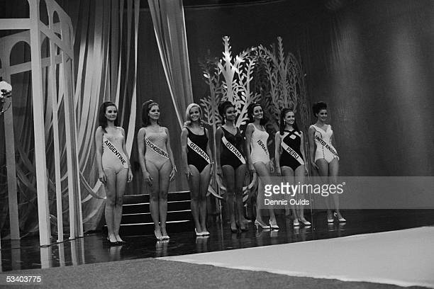 A lineup of the seven finalists in the Miss World 1967 contest at the Lyceum Ballroom on London's Strand 17th November 1967 From left to right Maria...