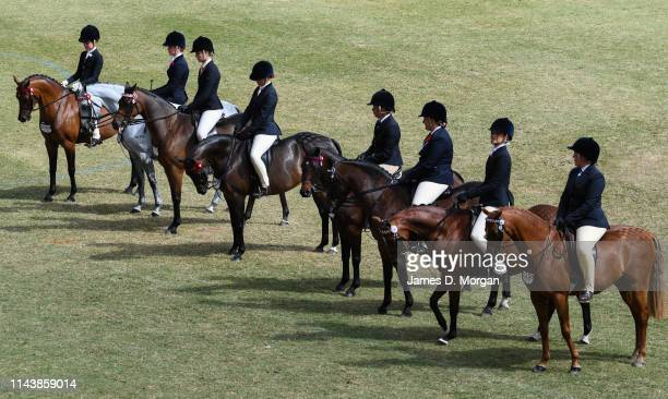 Line-up of women on horseback during competition of some horses during the Sydney Royal Easter Show at Sydney Showground on April 20, 2019 in Sydney,...