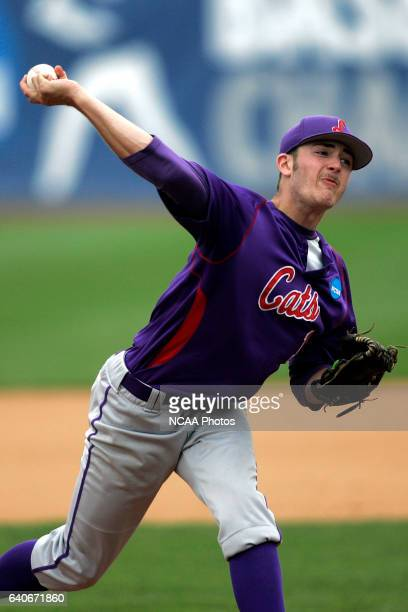 Linfield College starting pitcher Chris Haddeland delivers a pitch to a University Southern Maine batter and became the winning pitcher in a 41 win...