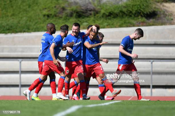 Linfield FC celebrate scoring the opening goal from Hery during the UEFA Champions League 2020/21 Preliminary Round Semi-final match between S.S. Tre...