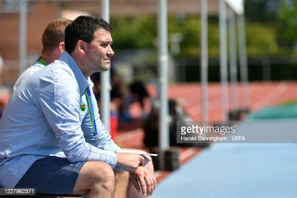 Linfield FC coach David Healy looks on during the UEFA Champions League 2020/21 Preliminary Round Semi-final match between S.S. Tre Fiori F.C. And...