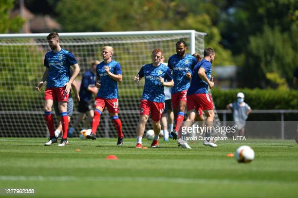 Linfield FC team warming-up ahead the UEFA Champions League 2020/21 Preliminary Round Semi-final match between S.S. Tre Fiori F.C. And Linfield FC at...