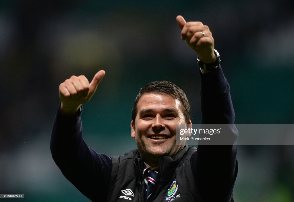 Linfield manager David Healy gestures to fans at the final whistle during the UEFA Champions League Qualifying Second Round, Second Leg match between Celtic and Linfield at Celtic Park Stadium on July 19, 2017 in Glasgow, Scotland.