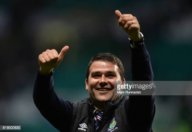 Linfield manager David Healy gestures to fans at the final whistle during the UEFA Champions League Qualifying Second Round, Second Leg match between...