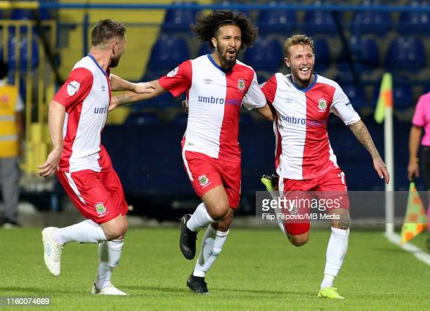 Linfield players celebrating goal during the UEFA Europe League third round qualifier match between Sutjeska Niksic and Linfield FC on August 6, 2019...